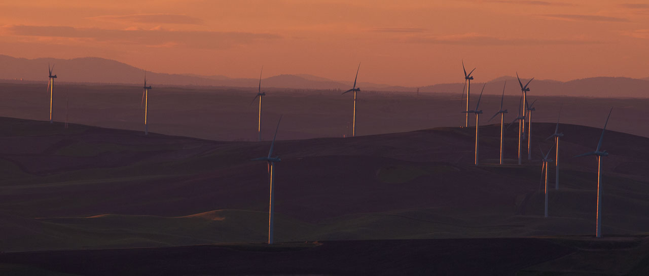 Barbee_140624_3_4923 |  Wind turbines north of Steptoe Butte as see from the top of Steptoe Butte at sunset | Palouse