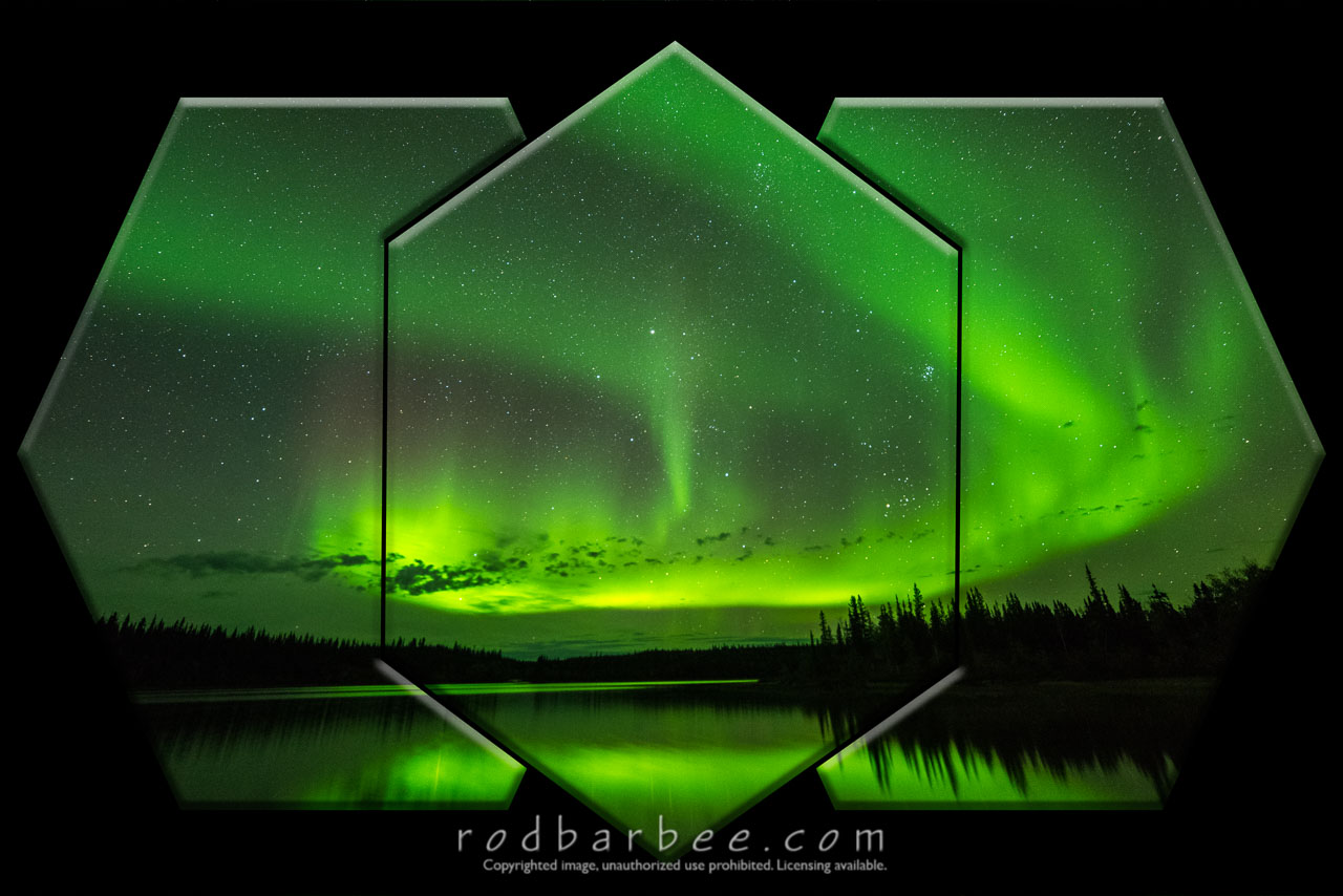 Barbee_160907_9123-panel-black-big-emboss |  Aurora over Prelude Lake, Powder Point Territorial Park, Northwest Territories, Canada